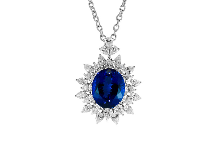 Tanzanite and Diamond Sunburst Necklace