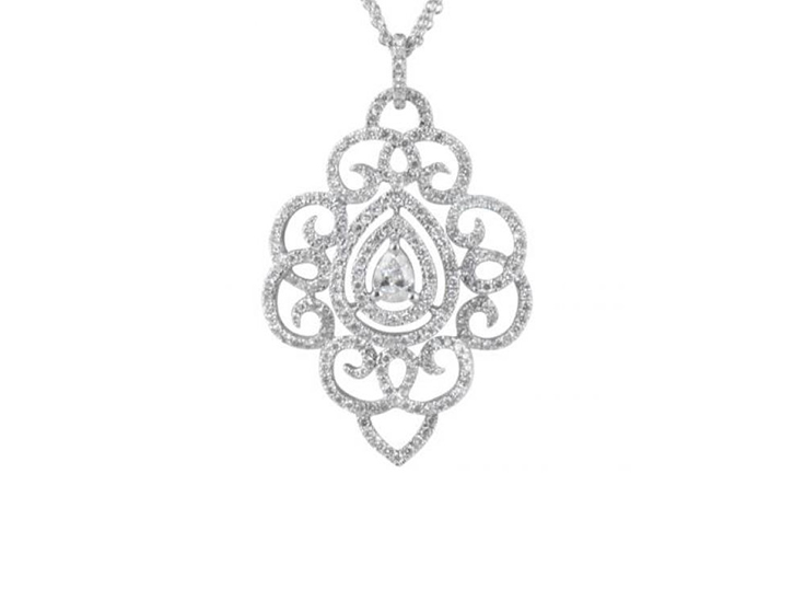 Scrollwork Diamond Necklace