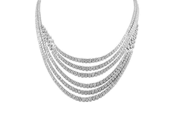 Brilliant Six Strand Diamond Necklace
